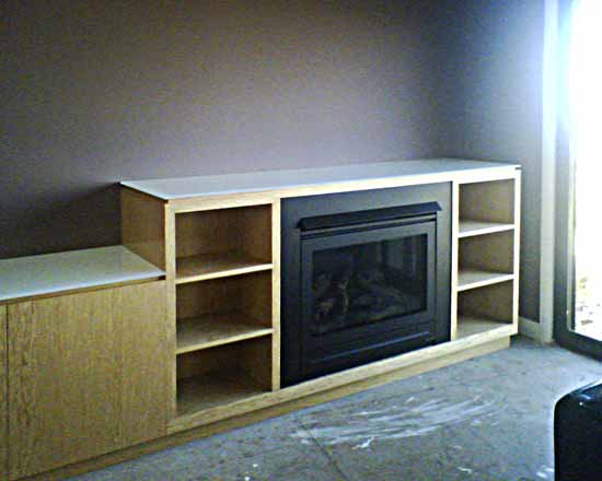 Fire place built into joinery