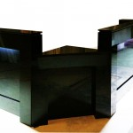 Long black reception desk