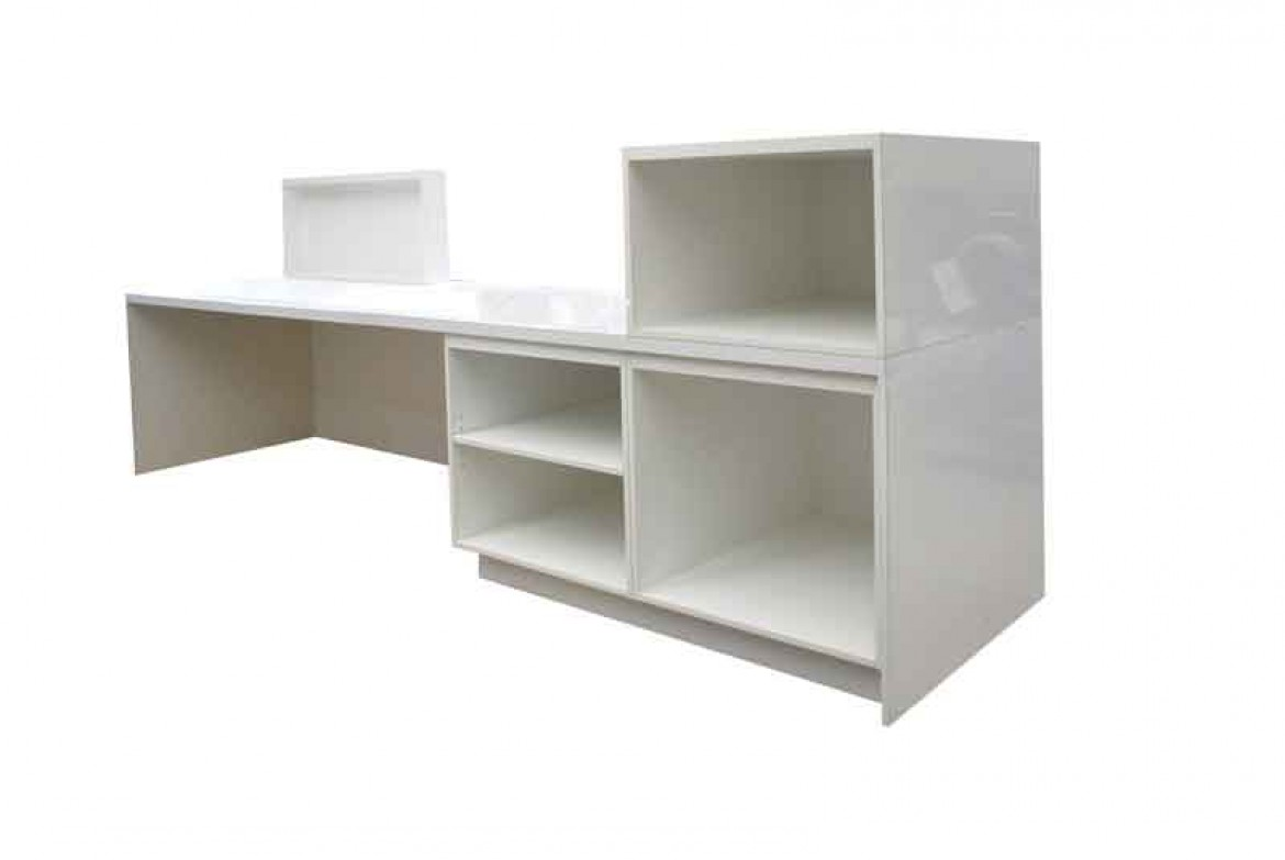 White gloss reception counter. White gloss retail sales counter