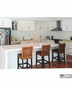 White Kitchen, Glass splashback, Caesarstone top