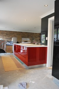 Red black and white Gloss Kitchen
