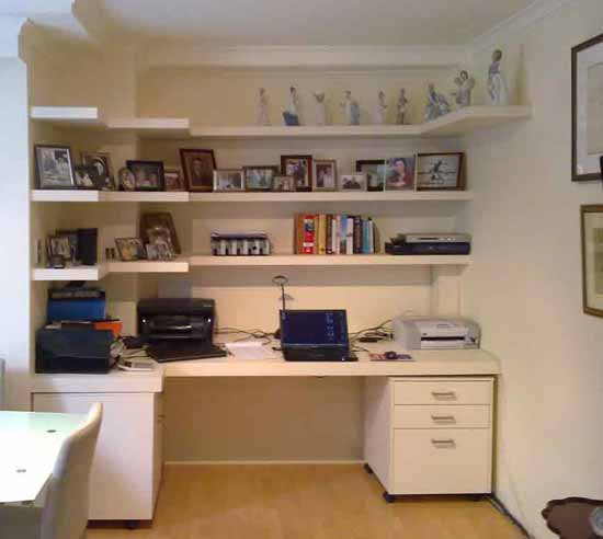 Book shelves for a home office. Suspended shelving without brackets